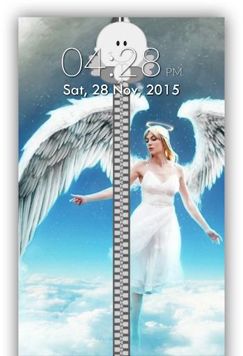 Angel Zipper Lock Screen