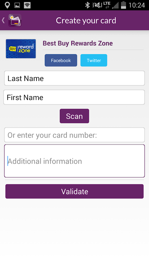 Fidall loyalty cards- screenshot