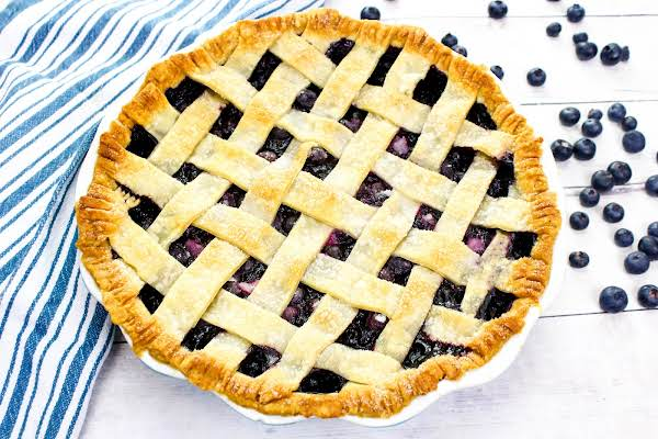 Fresh Blueberry Pie Ready To Be Sliced.