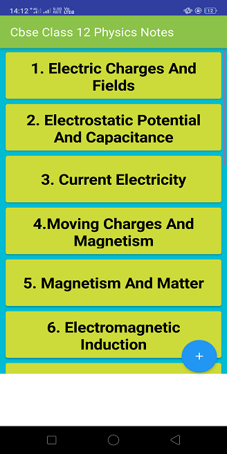CBSE Class 12 Physics Notes With Solutions 2019 – (Android Apps