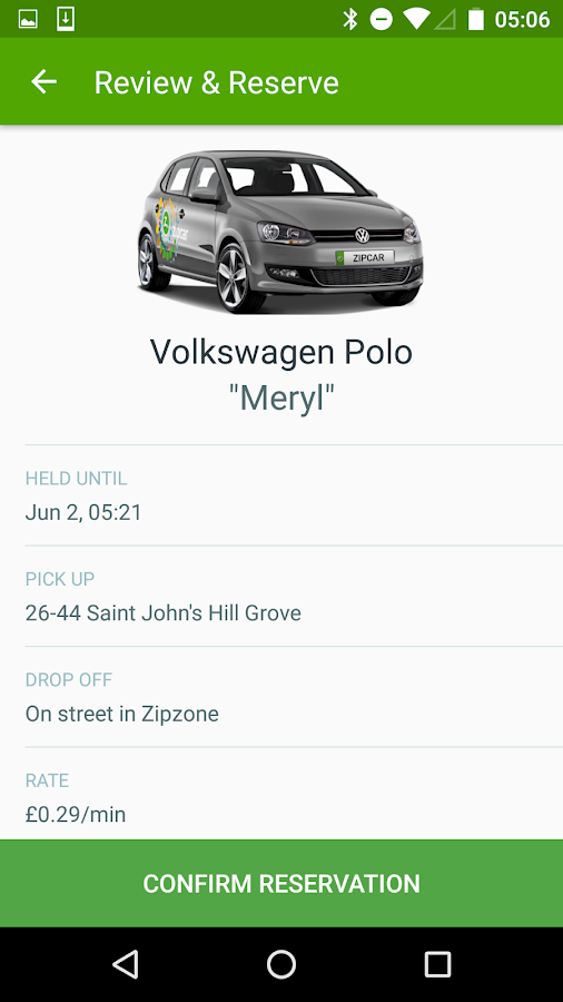 Zipcar UK- screenshot
