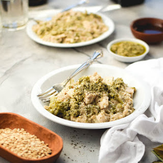 Savory Toasted Oat Pesto Chicken Risotto