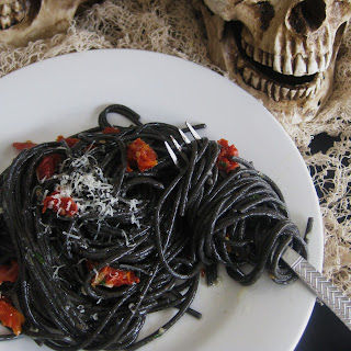 Black Spaghetti with Garlic, Parmesan and Sun-Dried Tomatoes Recipe