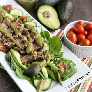 Southwest Steak Salad with Spicy Avocado Dressing.