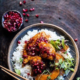 Sheet Pan Sticky Pomegranate Chicken and Honey Roasted Squash.