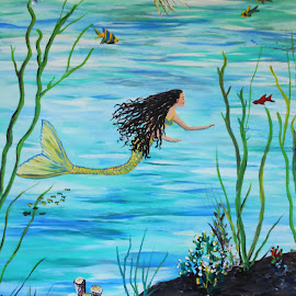 Mermaid Under the Sea by Rhonda Lee - Painting All Painting ( unique, beachy, art, rokinronda, girly, fun, beach, cute, painting, mermaid, design )