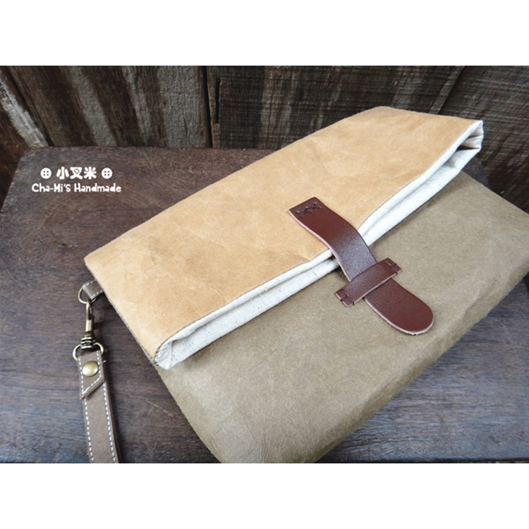 Hand Clutch Paper Bag (army green x light brown) by Cha-mi's Handmade