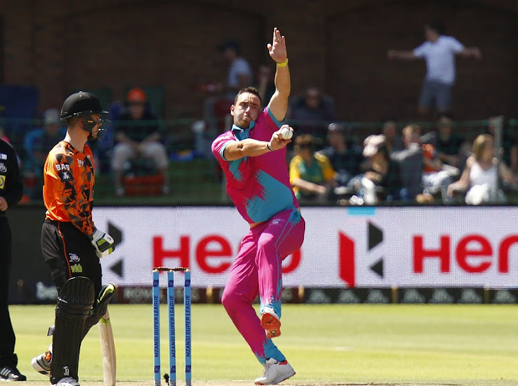 Kyle Abbott of the Durban Heat during the Mzansi Super League match between Nelson Mandela Bay Giants and Durban Heat at St. Georges Park on November 23, 2019 in Port Elizabeth, South Africa.