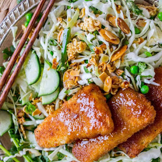 Crunchy Asian Cabbage Salad with Crispy Fish.
