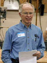Photo: Phil's life as a professional woodturner started in 1975 and overlapped his 30 years as an agricultural economist with the U.S. Department of Agriculture. He was a pioneering member of the American Association of Woodturners and its associated chapters, Capital Area Woodturners and Chesapeake Woodturners. He founded the Montgomery County Woodturners in 2007 and became its first President.    MCW President Phil Brown leads the meeting in our second year. [0804]