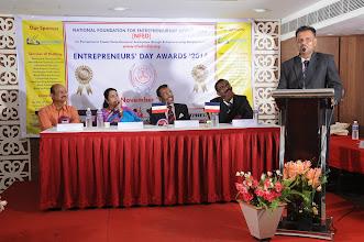 Photo: Best Entrepreneur Awardee Mr. G. T. Panneerselvam, Proprietor, G K Thavasiappan Sons, Gobichettipalayam, Erode sharing his Memories on Entrepreneurs' Day Awards '2014