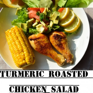 Turmeric Roasted Chicken Salad with Minty Yogurt Dressing