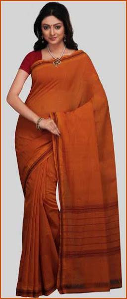 Photo: Orange Mangalagiri Handloom Cotton Saree with Blouse  Itemcode: SHT15  Price: US$ 27.51  Click @ http://www.utsavfashion.com/store/sarees-large.aspx?icode=SHT15