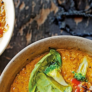 Spiced Vegetable Soup With Lentils And Roasted Chilli.