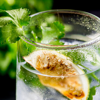Charred Lime Gin & Tonic with Fresh Coriander.