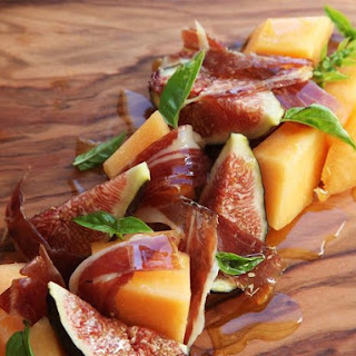 Fig, Melon, and Spanish Ham Salad With Basil.