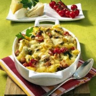 Käse-Nudelauflauf mit Kasseler