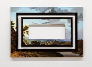 Photo: Invasiones mutuas I. 2014 Óleo sobre tela y molduras 90 x 130 cm