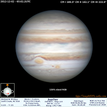 Photo: Day 45 of the one a day spring cleaning might bring me closer to ending the books on 2012's Jupiter. This was a great view of GRS and Jr from a hangout with +Cory Schmitzand +Chris Ridgway Good times guys, where'd all our clear skies go???