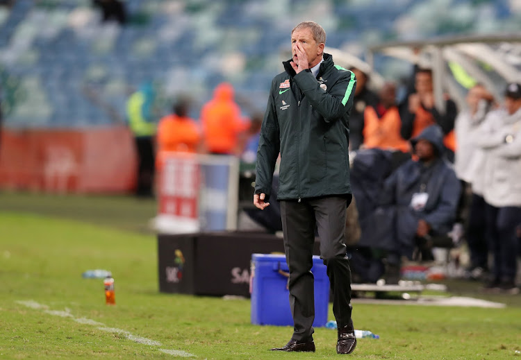 Beleaguered Bafana Bafana coach Stuart Baxter reacts on the touchline during the goalless 2019 Africa Cup of Nation qualifying match against Libya at the Moses Mabhida Stadium, Durban on September 8 2018.