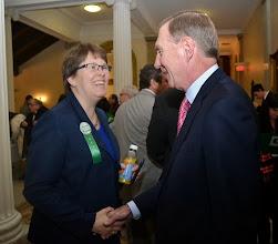 Photo: BBA President Paul Dacier meets Elizabeth Soule (Executive Director, MetroWest Legal Services).