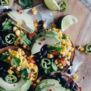 Spicy Black Bean Tostadas with Corn Salsa and Avocado Recipe