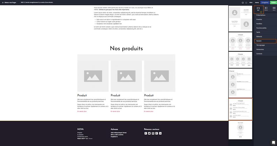 Créer ma page web facilement avec des blocs