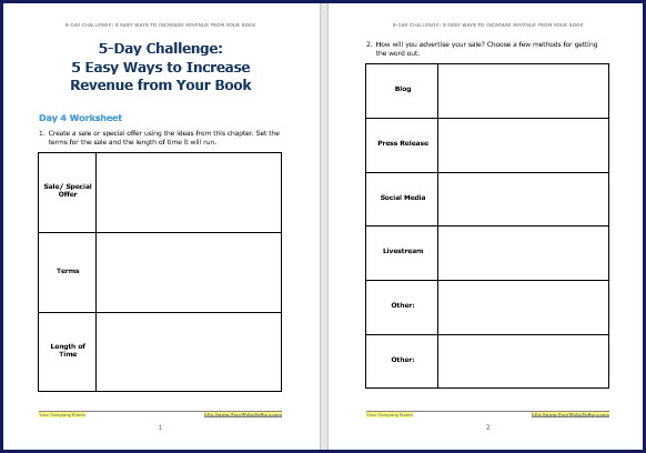 Promote & Market Your Business Book - Challenge Worksheet 4