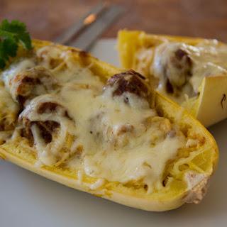 Spaghetti Squash Alfredo Boats Recipe