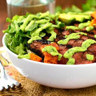 Steak and Sweet Potato Bowls with Avocado-Cilantro Drizzle.
