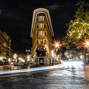 Gastown Flatiron Building by Cory Bohnenkamp - City,  Street & Park  Historic Districts ( building, canada, gastown, night, flatiron, vancouver, bcv, city )