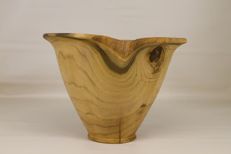 "Photo: Richard Webster 7"" x 9"" natural-edge, endgrain bowl [mulberry]"