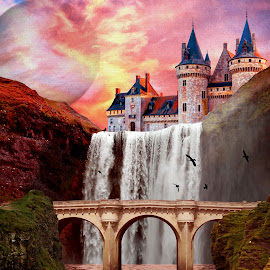 Bridge Reflection by Charlie Alolkoy - Illustration Buildings ( water, planet, sunset, castle, bridge )