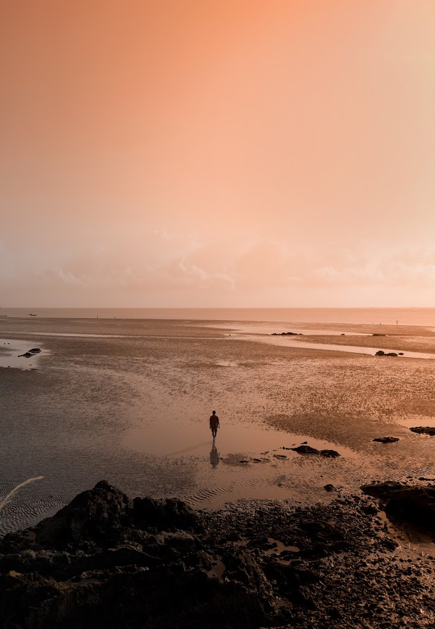 looking for silence by Thoriq Naufal - Digital Art Places ( sunrise, moody, beach, sunset, folk,  )