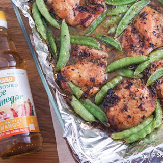 Soy and Mango Vinegar Marinated Chicken Thighs with Sugar Snap Peas.