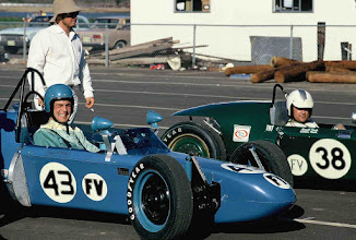 Photo: April 1970 ; photo by Rich Morgan; Ron (Car No. 43) and Weldon Nash (Car No. 38); Waiting in false grid at Dallas International Motor Speedway; The blue Nash Scrambler No. 44 was the second car built and was owned by Ed Tipps, who made the fiberglass bodies for the Scramblers. This was the last time that Ron and Weldon competed together in a race.