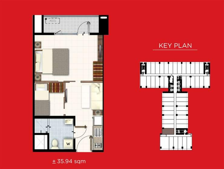 Red Residences, Chino Roces, Makati 1 bedroom with balcony and den