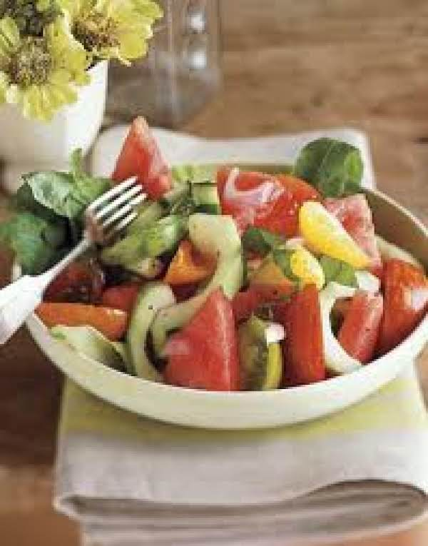 Watermelon Salad With Pizza Croutons