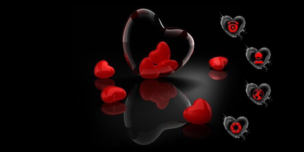 Cm Launcher 3d Wallpaper Download Red Love Heart Theme Android Apps On Google Play