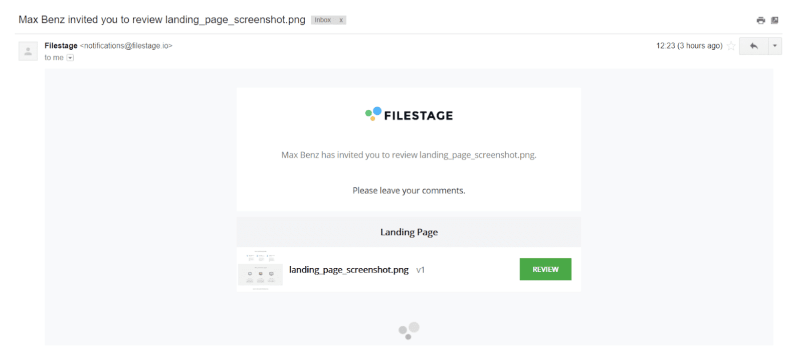 filestage reviewer email