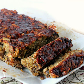 Peanut Butter Vegetarian Meatloaf with Barbecue Glaze.