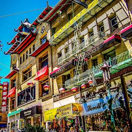 CHINATOWN by Jennifer  Loper  - City,  Street & Park  Street Scenes ( blue sky, street, chinatown, california, san francisco, colorful )