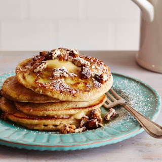 Banana and Pecan Pancakes with Maple Butter.
