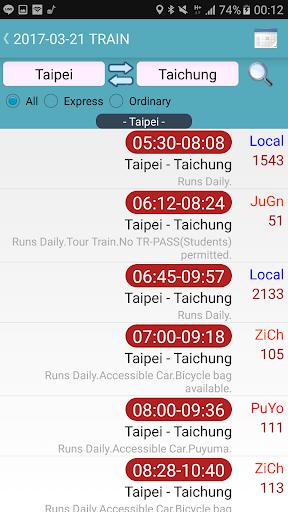 Capturas de pantalla de Taiwan Railway Timetable 2