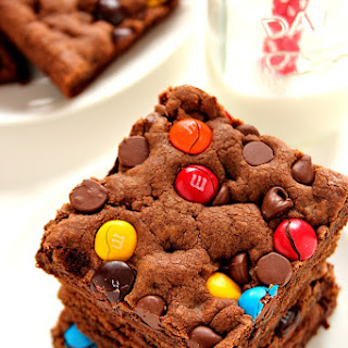 Double Chocolate M&M Cookie Bars