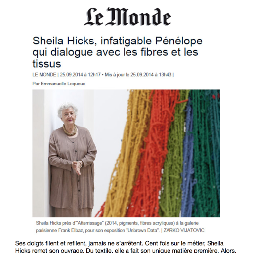 Sheila Hicks Infatiguable penelope, Le monde, 2016