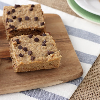 Soft Baked Peanut Butter Chocolate Chip Protein Breakfast Bars.