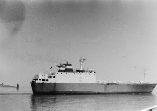 """Photo: """"Cap Taillat"""" near Vlissingen, May 1979, chartered by Olau Lines (Photo: H.G. Hesselink). IMO 7500748."""