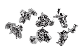 Photo: ROTENIER Exclusively ours. Elephant, rhinoceros, and tiger head antiqued sterling silver antiqued cufflinks. $395. USA. First Floor, The Men's Store. 212 339 3290