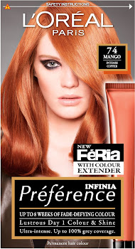 L'Oreal Paris Preference Infinia Hair Color - 74 Mango Intense Copper